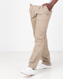 Utopia Cotton Twill Chino With Turnup Khaki