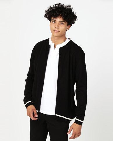 Utopia Tipped Zip Through Knitwear Cardigan Black