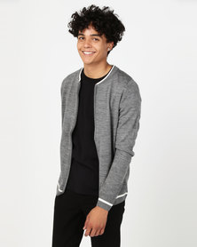 Utopia Tipped Zip Through Knitwear Cardigan Grey Melange