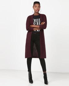 Utopia Longline Knitwear Cardigan Plum