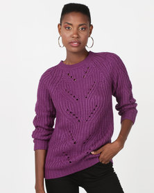 Utopia Interest Knitwear Jumper Purple