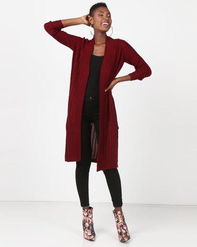 Utopia Longline Knitwear Cardigan Red