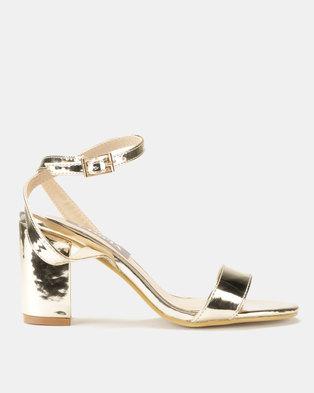 Utopia Patent Heel Sandal Gold