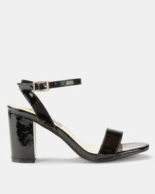 Utopia Patent Heel Sandal Black