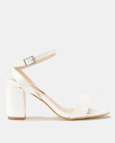 Utopia Patent Heel Sandal White