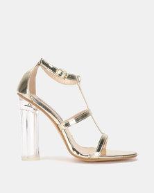 Utopia Perspex Heel Sandal Gold