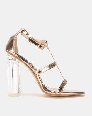 Utopia Perspex Heel Sandal Rose Gold