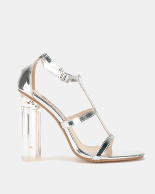 Utopia Perspex Heel Sandal Silver
