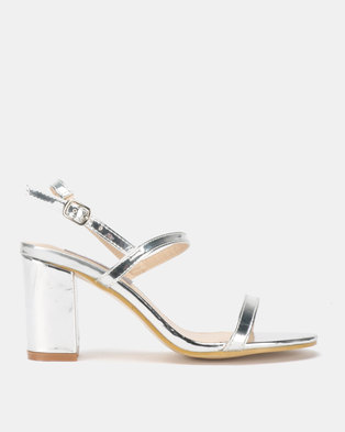 Utopia Barely There Block Heel Silver