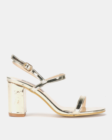Utopia Barely There Block Heels Gold