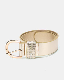 Queenspark Keeper Belt With Stud Detail Gold-Toned