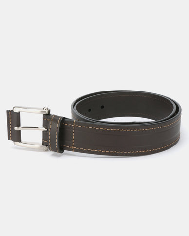 JCrew  Broad Stitched Belt Chocolate