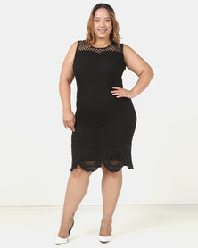 Queenspark Plus Fancy Mesh Glamour Knit Dress Black