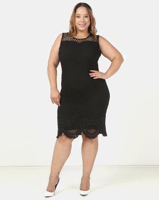 90f98eb2909a4 Queenspark Plus Fancy Mesh Glamour Knit Dress Black