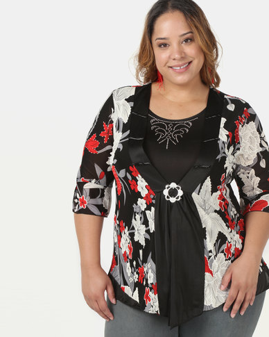 Queenspark Plus Twofo Printed Glamour Knit Top Black