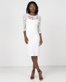 cath.nic By Queenspark Diagonal Lace Woven Dress Cream