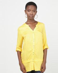 Queenspark Spaced Button Longer Length Woven Shirt Yellow