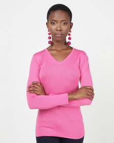 Queenspark V-Neck Core Jersey Cerise