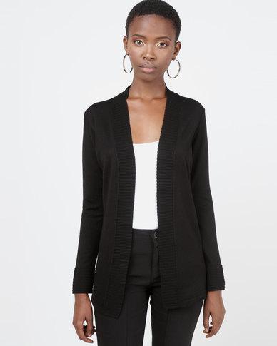 Queenspark Rib Detail Core Knitwear Cardigan Black