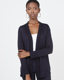 Queenspark Rib Detail Core Knitwear Cardigan Navy