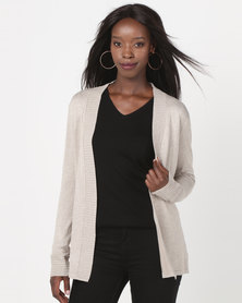 Queenspark Rib Detail Melange Core Knitwear Cardigan Natural