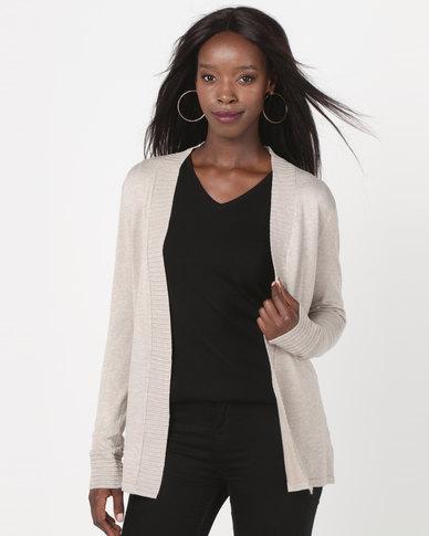 Queenspark Rib Detail Melange Core Knitwear Cardigan Natural