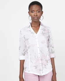 Queenspark Rose Print Cotton Voile Woven Shirt White