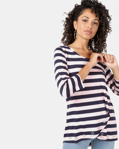 Queenspark Eyelet Stripe Core Knit Top Navy