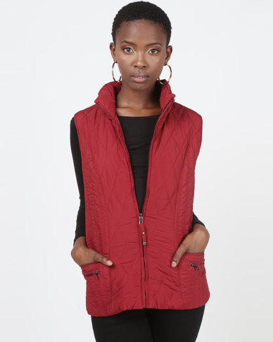 Queenspark Woven Quilted Zip through Sleeveless Gilet Red