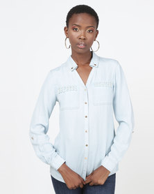 Queenspark Denim Pearl Detail Button Through Shirt Blue