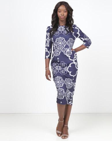 Queenspark Printed 3/4 Sleeve Pocket Detail Knit Dress Navy