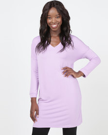 Queenspark Longer Length Dropped Shoulder Fashion Knit Top Lilac