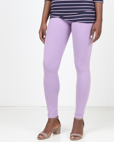 Queenspark Knitted Leggings Lilac