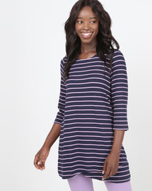 Queenspark Striped Double Layer Fashion 3/4 Sleeve Knit Top Navy