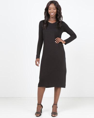 eeeffed51d Queenspark V-Neck Long Sleeve Tie Front Knit Dress Black