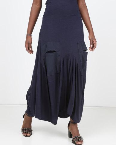 Queenspark Maxi Knitted Skirt Navy