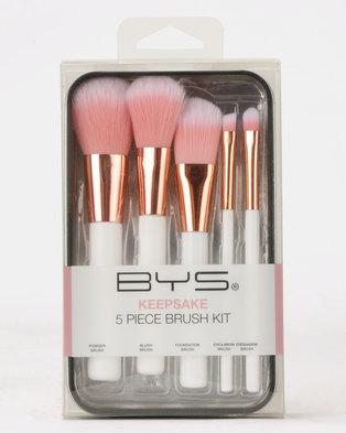 BYS Makeup Brushes In Keepsake Tin White & Rose Gold 5Pc
