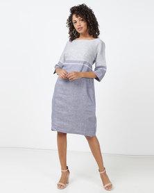 Jenja Colour Block Shift Dress Bluebell