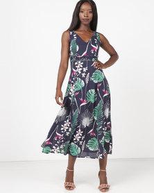 Jenja Tuck Detail Print Dress Blue Leaf Multi