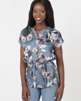 99351dcf5148 Jenja Mandarin Collar Blouse Flower Print Blue