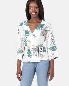 Jenja Print Kimono Tie Shacket Milk Leaf