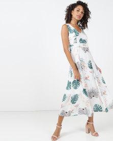 Jenja Tuck Detail Print Dress Milk Leaf