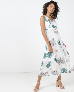 cb0c551426de Jenja Tuck Detail Print Dress Milk Leaf