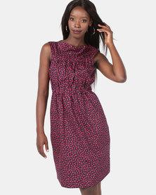 Jenja Ruffle Neck Dress Print Red