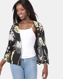 Jenja Print Kimono Tie Shacket Black Leaf Multi