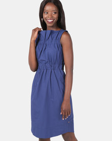 Jenja Ruffle Neck Dress Blue Print