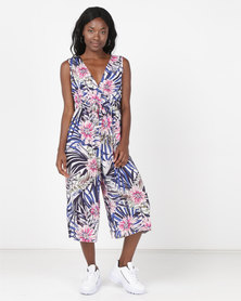 Holly Blue Print Pantsuit Leaf Print Navy