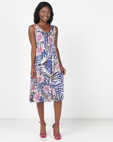 Holly Blue Fit & Flare Print Dress Leaf Print Navy