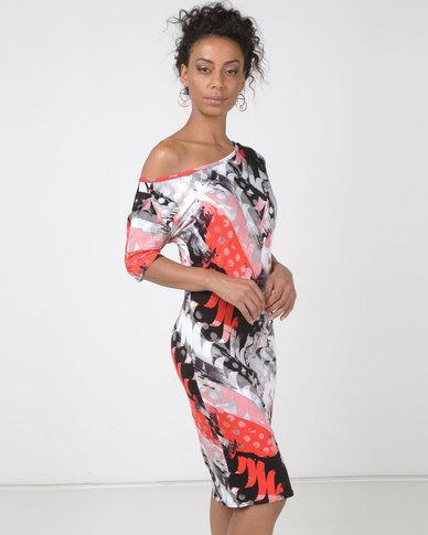 N'Joy Off Shoulder Mid Length Dress Red