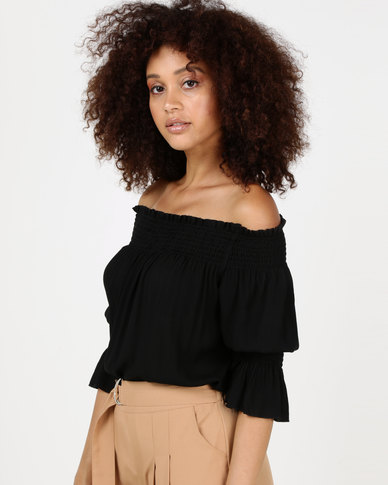 Utopia Crinkle Bardot Top Black